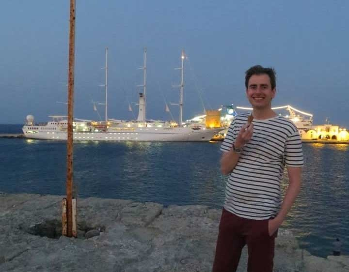 Me eating a cheeky ice cream down by the mega boats in the harbour.